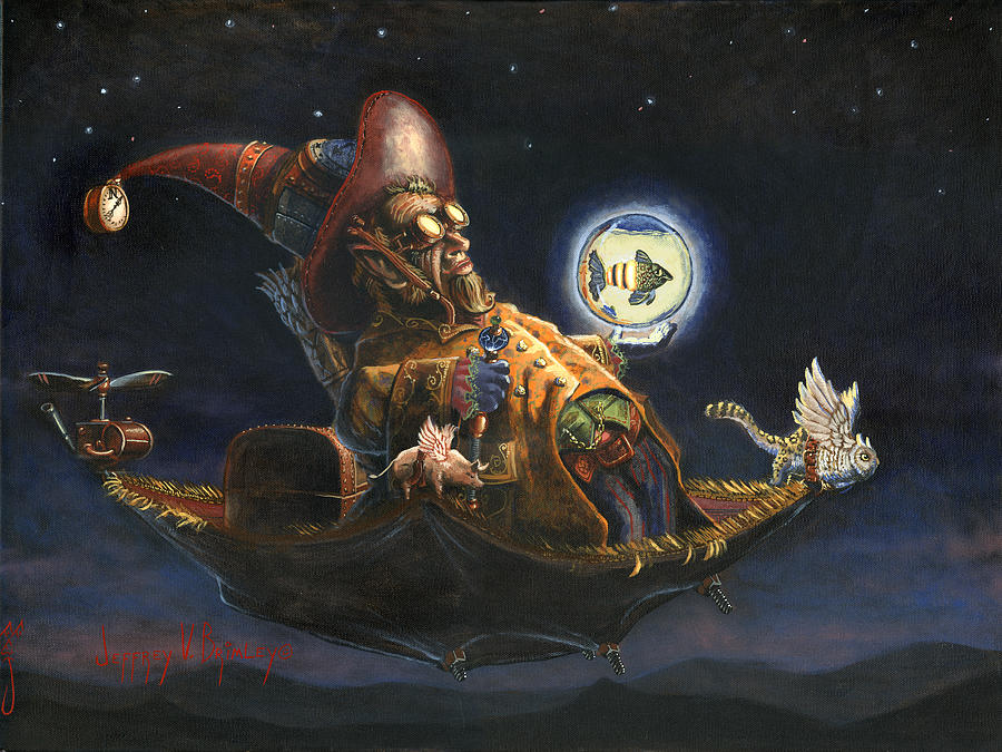 Wizard Painting - Edwin And Norbert At It Again by Jeff Brimley