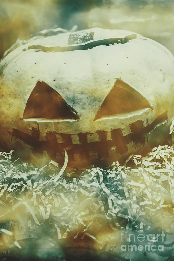 Pumpkin Photograph - Eerie Ghoulish Halloween Pumpkin Head by Jorgo Photography - Wall Art Gallery