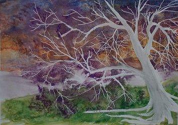 Watercolor Painting - EERIE gothic landscape fine art surreal print by Derek Mccrea