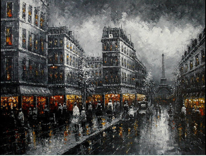 Effeil Tower France Cityscape Oil Painting-swpr3 Painting by Mark Wu