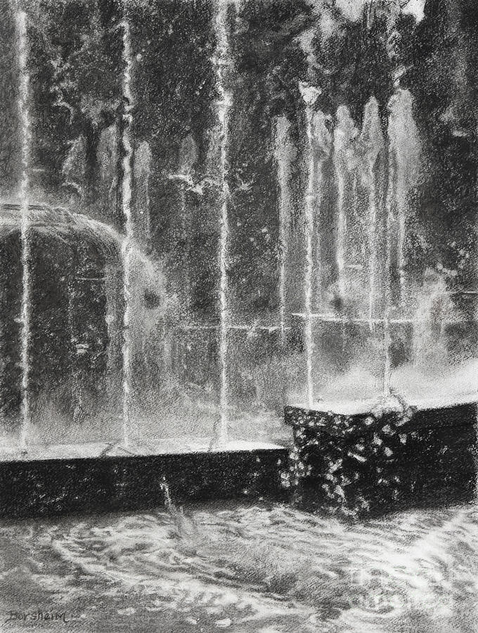 Fountain Drawing - Effervescence Fountain In Milano Italy by Kelly Borsheim