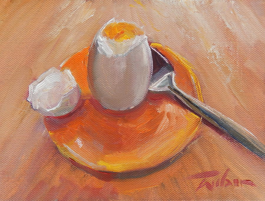 Egg Painting - Egg And Spoon by Ron Wilson