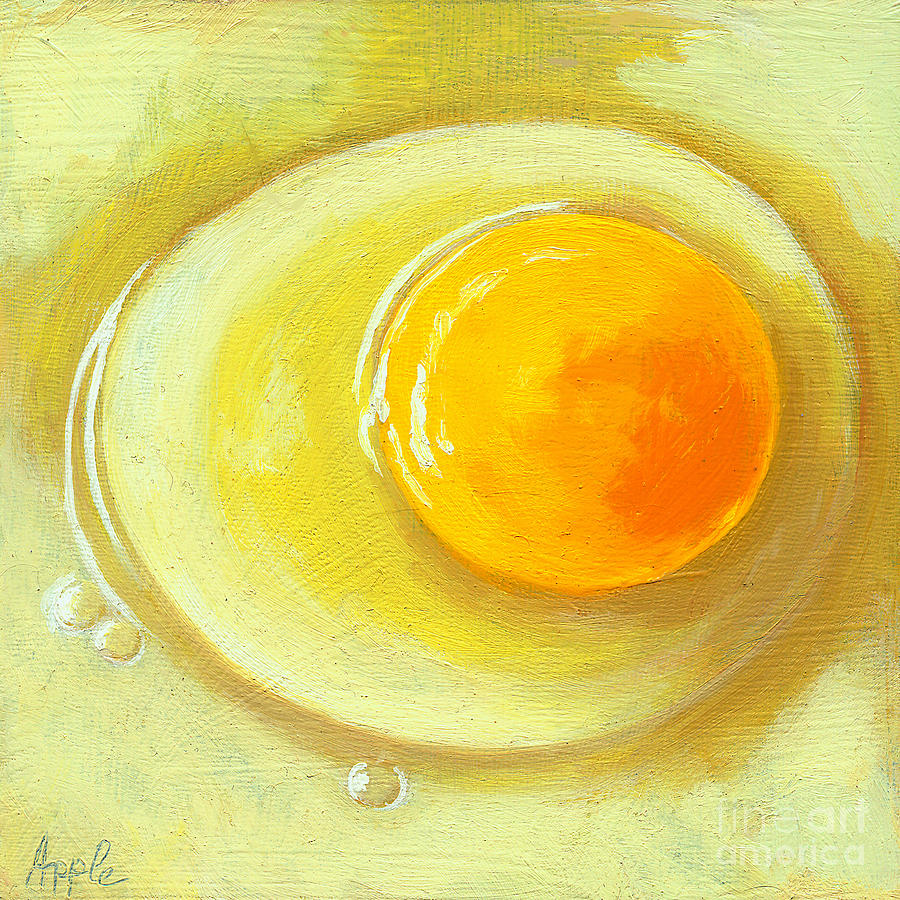 Food Painting Painting - Egg On A Plate - Realism Painting by Linda Apple