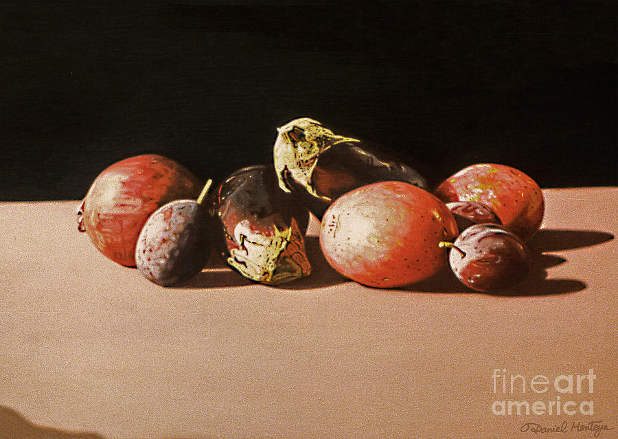 Painting Painting - Eggplants And Red Potatoes by Daniel Montoya