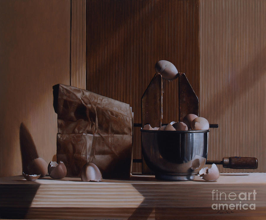 Eggs Painting - Eggs And Cardboard by Larry Preston