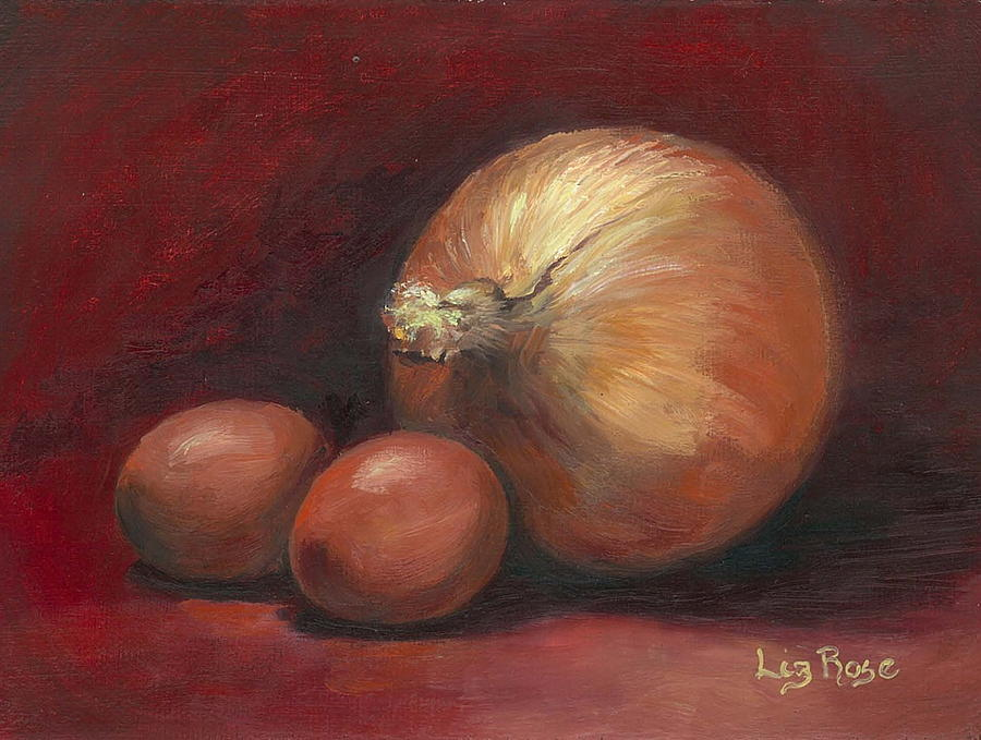 Still Life Painting - Eggs And Onions by Liz Rose