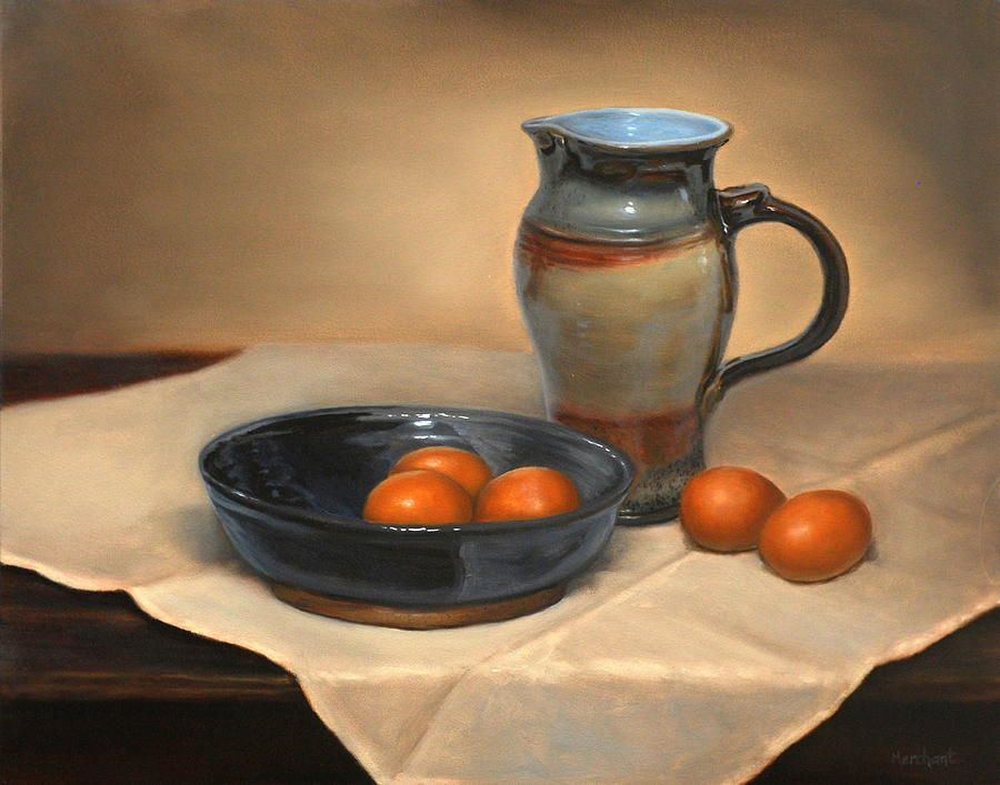 Oil Painting - Eggs And Pitcher by Linda Merchant