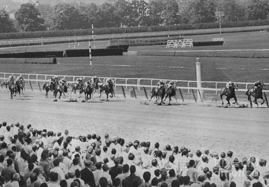 Egomaniac Heads For Victory On Opening Day At Belmont. 1969 Photograph by Anthony Calvacca