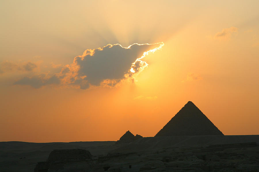Pyramid Photograph - Egpytian Sunset Behind Cloud by Donna Corless