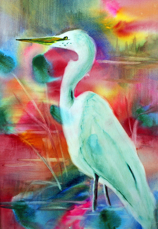 Egret Painting - Egret 1 by Tina Storey
