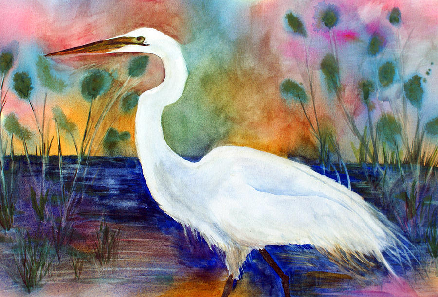 Egret Painting - Egret 2 by Tina Storey