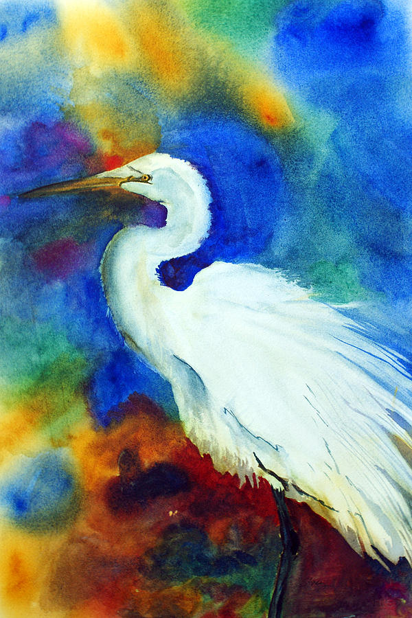 Egret Painting - Egret 3 by Tina Storey