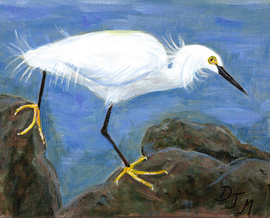 Egret Painting - Egret Crossing by Dalila Jasmin