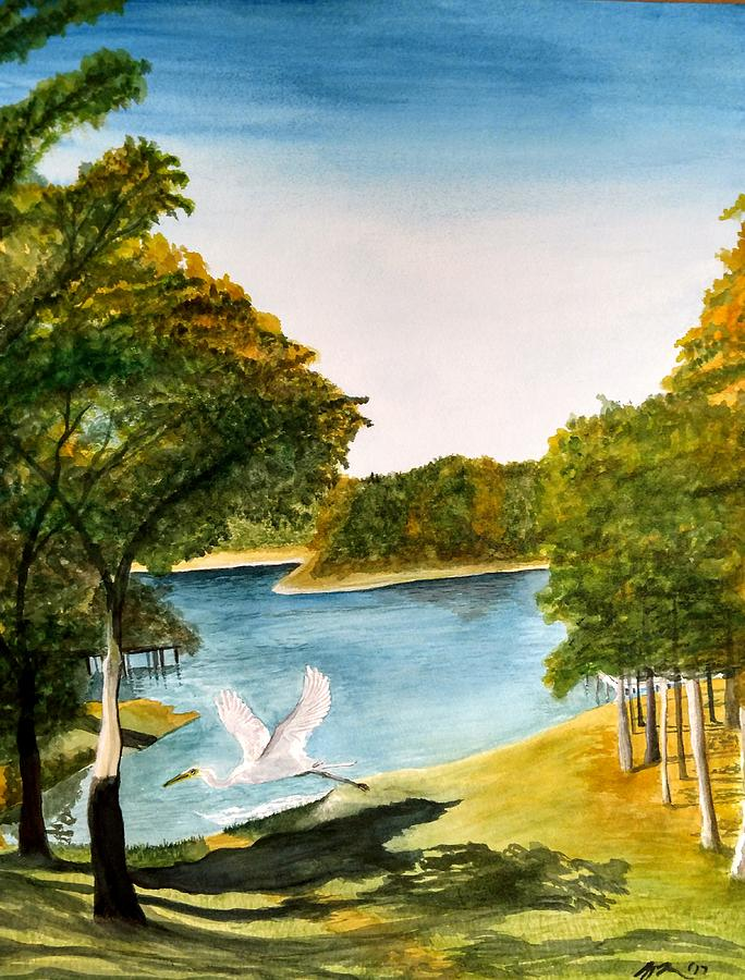 Egret Painting - Egret Flying Over Texas Landscape by Mary Thompson