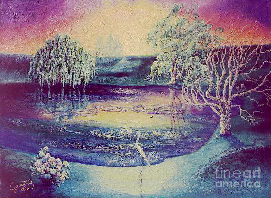 Pond Painting - Egrets Pond by Cynthia Sorensen