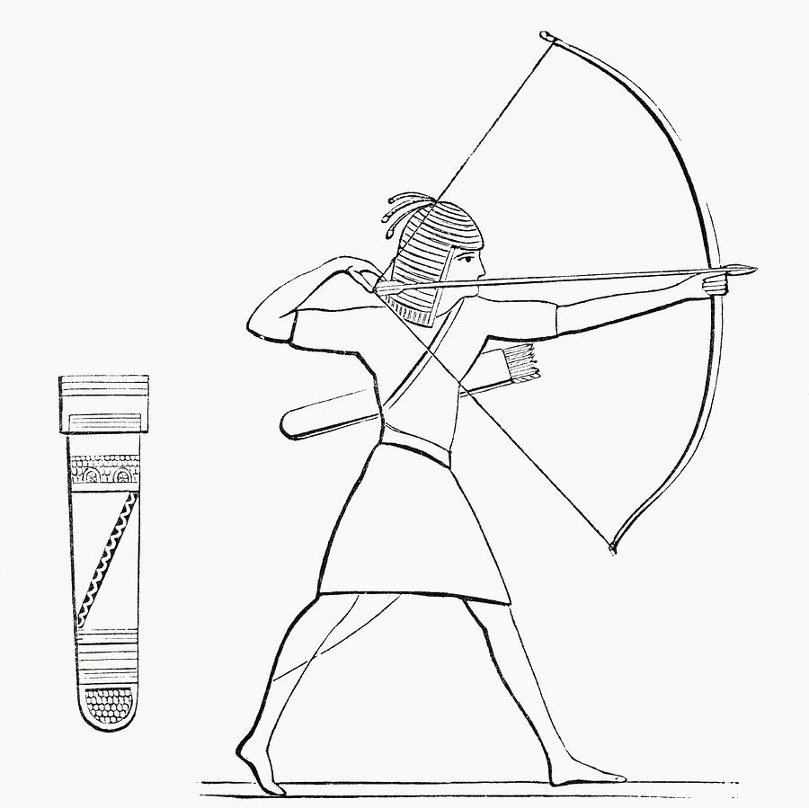 Coloring pages for quiver - Welsh Drawing Egyptian Archer And Quiver From The By Vintage Design Pics
