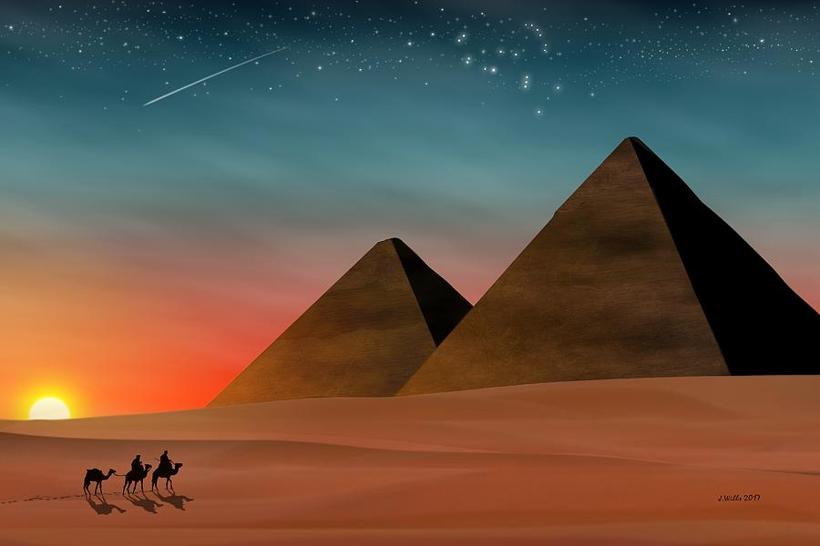 Desertscapes Digital Art - Egyptian Pyramids by John Wills