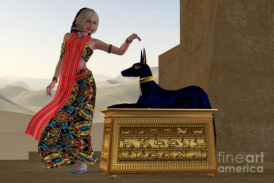 Anubis Painting - Egyptian Woman And Anubis Statue by Corey Ford