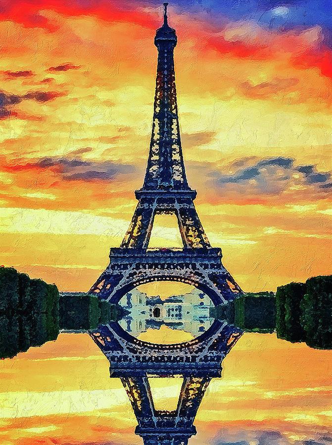 Eifel Painting - Eifel Tower In Paris by PixBreak Art