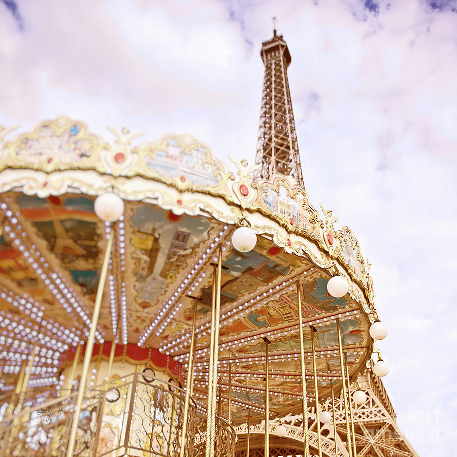 Eiffel Tower and Carousel by Ivy Ho