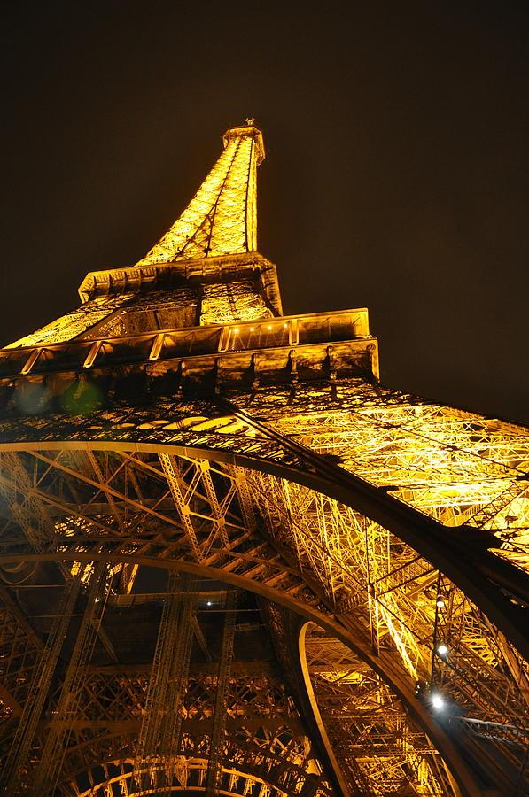Eiffel Tower Photograph - Eiffel Tower at Night by Caroline Reyes-Loughrey