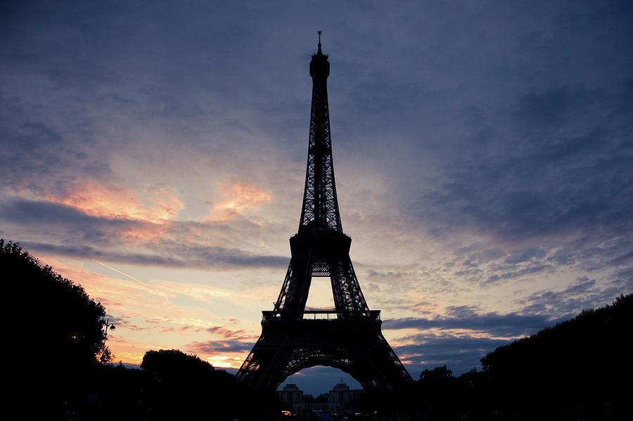 Horizontal Photograph - Eiffel Tower At Sunset, Paris, France by Photo by rachel kara