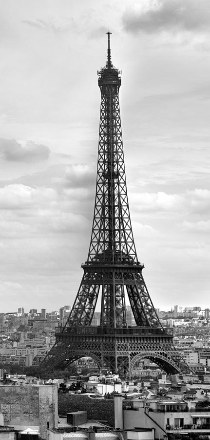Panoramic Photograph - Eiffel Tower Black And White by Melanie Viola