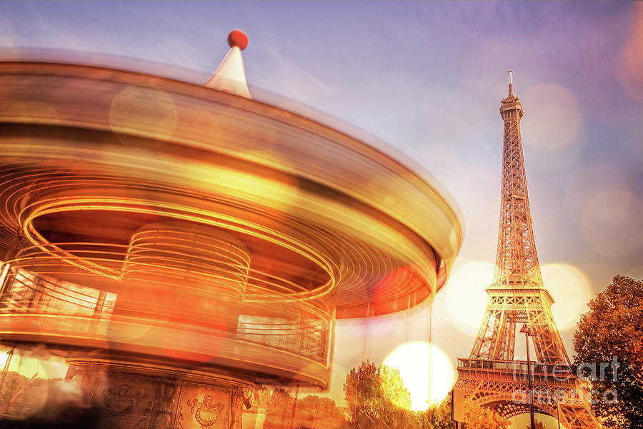 Paris Photograph - Eiffel Tower Carousel by Delphimages Photo Creations