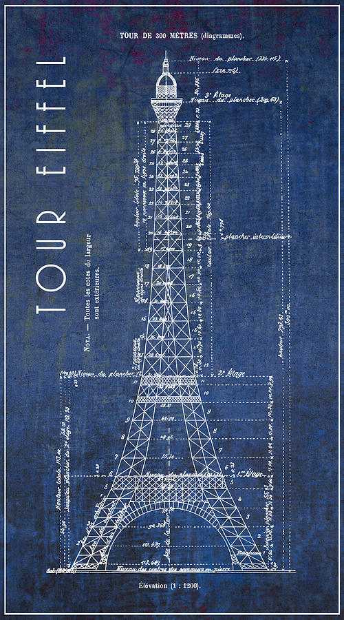 Eiffel tower engineering blueprint 1886 digital art by daniel hagerman tour eiffel digital art eiffel tower engineering blueprint 1886 by daniel hagerman malvernweather Image collections