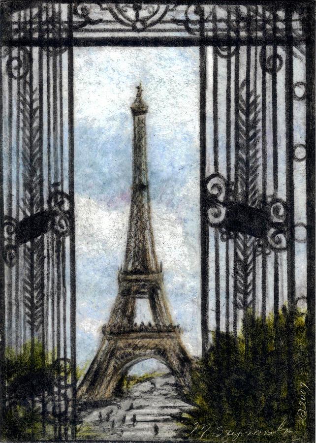 Landscape Drawing - Eiffel Tower by Melissa J Szymanski