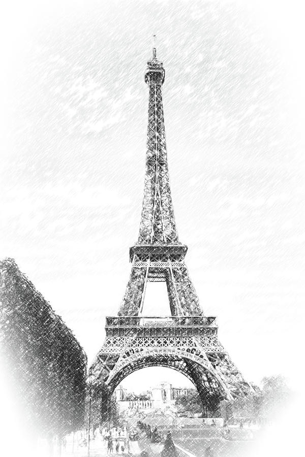 Eiffel Tower Pencil Sketch Eiffel Tower- P...