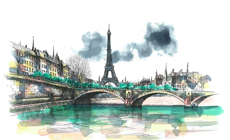 Paris Eiffel Tower Painting Painting - Eiffel Tower by Seventh Son
