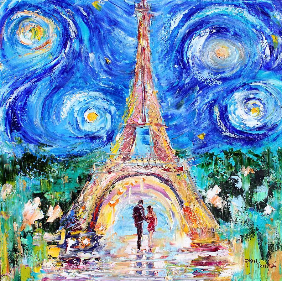 Eiffel Tower Starry Night Romance Painting By Karen Tarlton