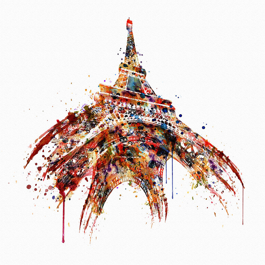 eiffel tower watercolor mixed media by marian voicu