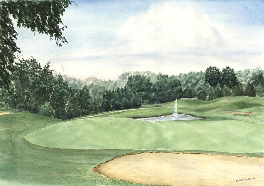 Golf Painting - Eight Green The Trails Golf Course by Lane Owen