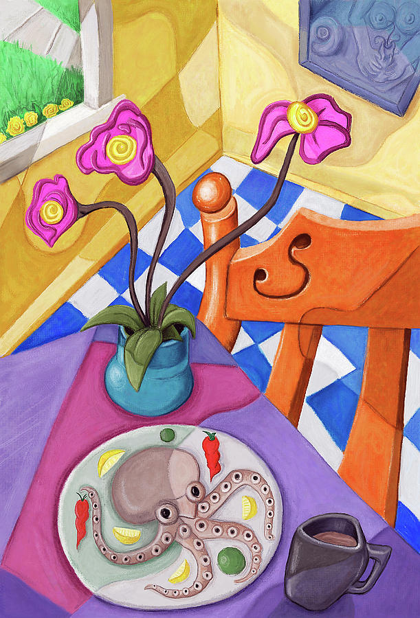 Squid Digital Art - Eight Leg Dinner by David Kyte