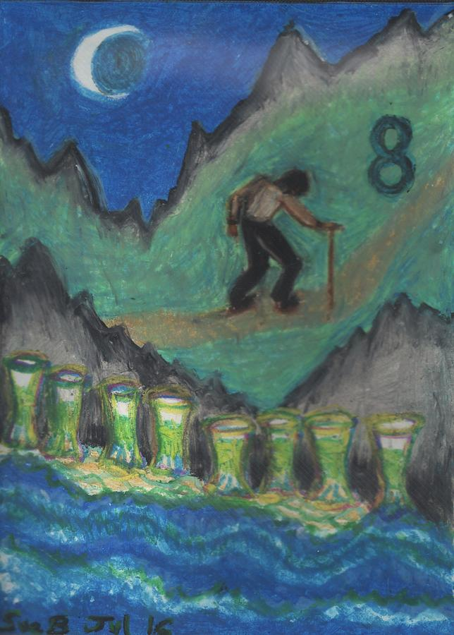 Tarot Pastel - Eight Of Cups Illustrated by Sushila Burgess