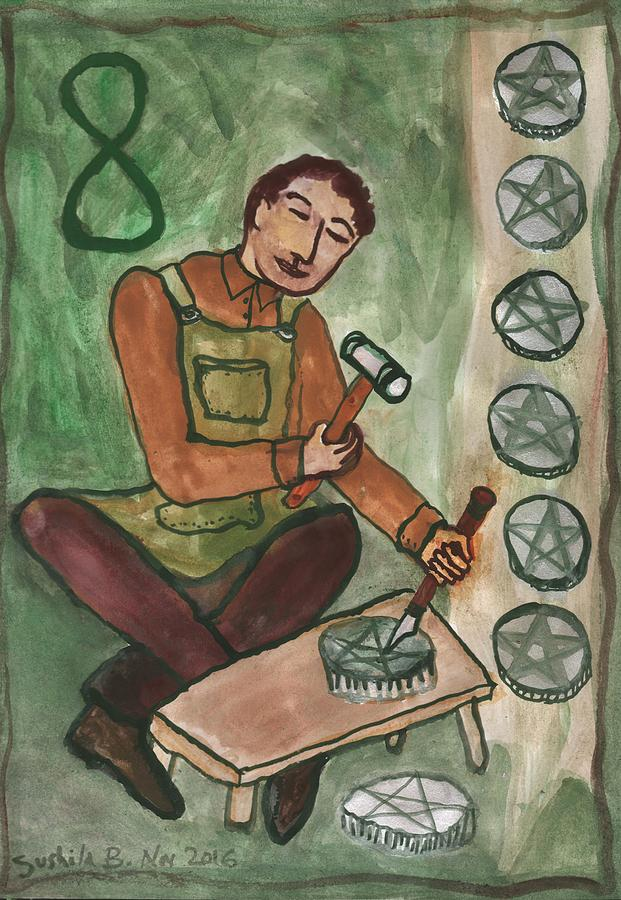 Tarot Painting - Eight Of Pentacles Illustrated by Sushila Burgess