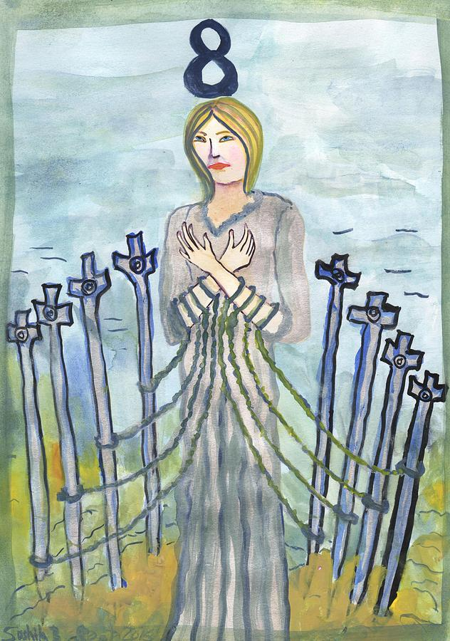 Tarot Painting - Eight Of Swords Illustrated by Sushila Burgess