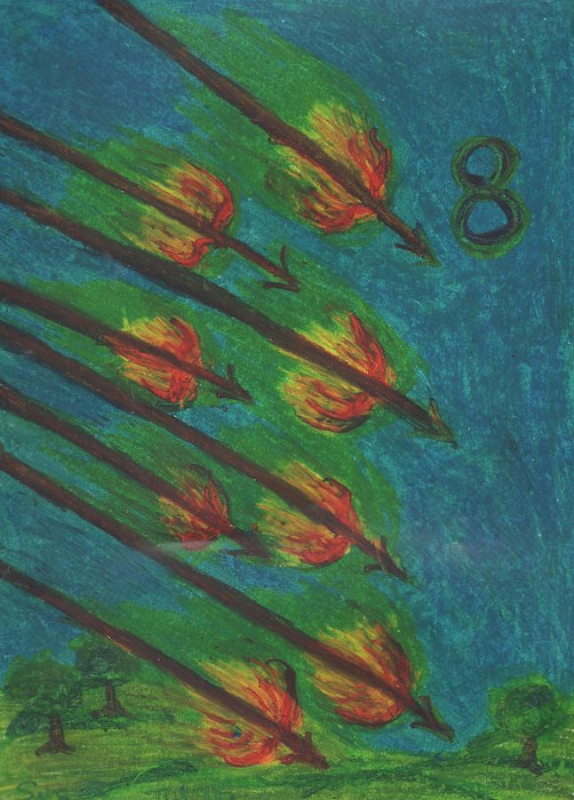 Tarot Pastel - Eight Of Wands Illustrated by Sushila Burgess