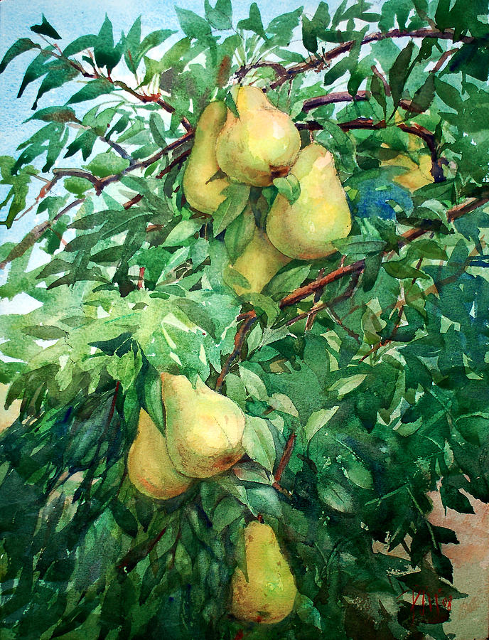 Garden Painting - Eight Pears by Peter Sit