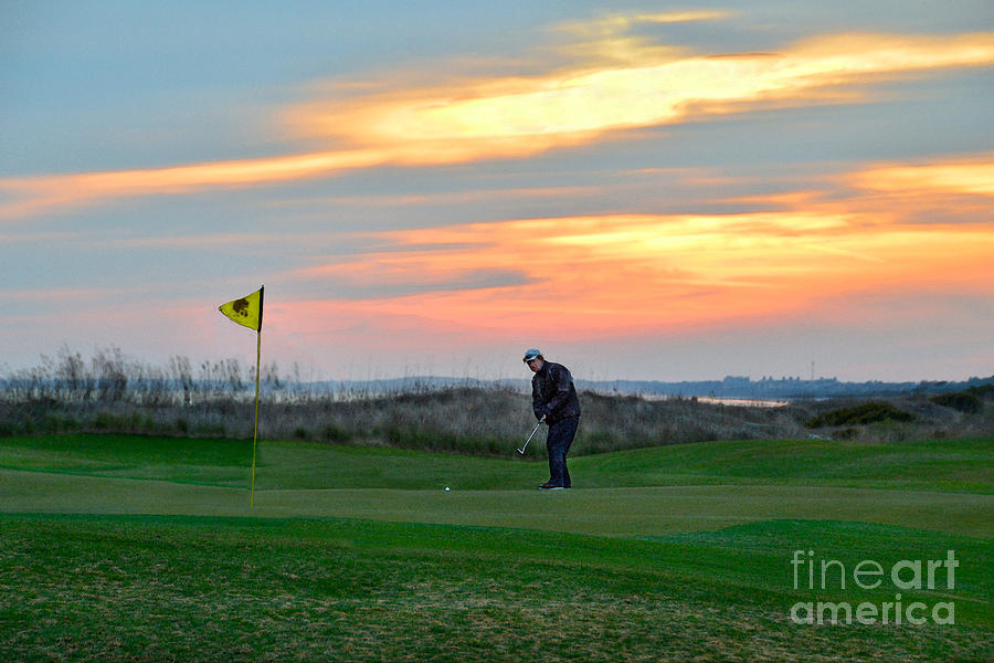 Golf Course Photograph - Eighteenth Green At Sunset by Catherine Sherman
