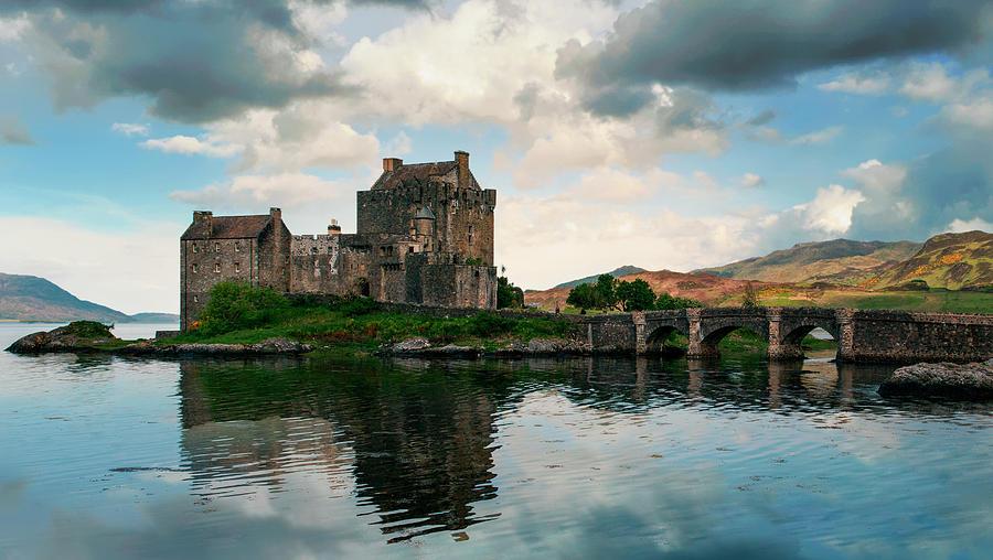 Loch Photograph - Eilean Donan Castle On A Cloudy Day by Jaroslaw Blaminsky