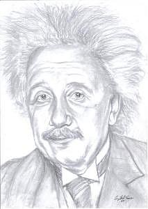 Portrait Drawing - Einstein by Crystal Sons