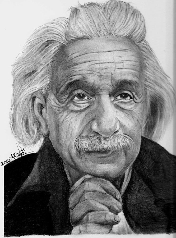 Einstein Drawing - Einstein by Loly Aloufi