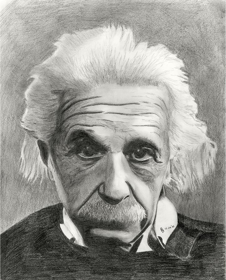 Einstein Drawing - Einsteins Eyes by Charles Vogan
