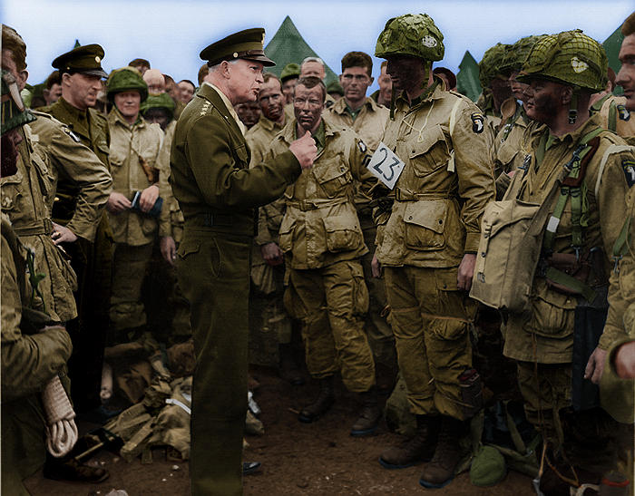 Eisenhower speaks to soldiers