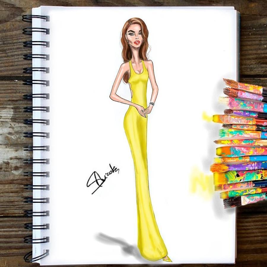 Illustration Drawing - Eiza  by Nicole Sorgoni