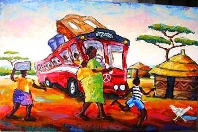 Ekhaya By Bus Painting by Nicky Chovuchovu