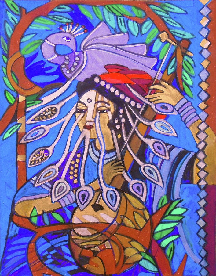 Peacock Painting - Ektera-First String by Denise Weaver Ross